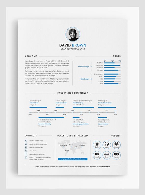 Modern CV / Resume Templates with Cover Letter Design Graphic - clean resume design