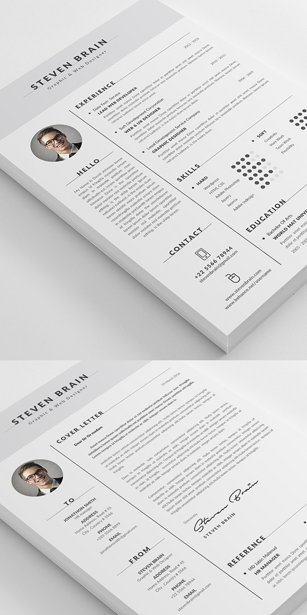 50 Best Minimal Resume Templates Design Graphic Design Junction - Simple Resume Design