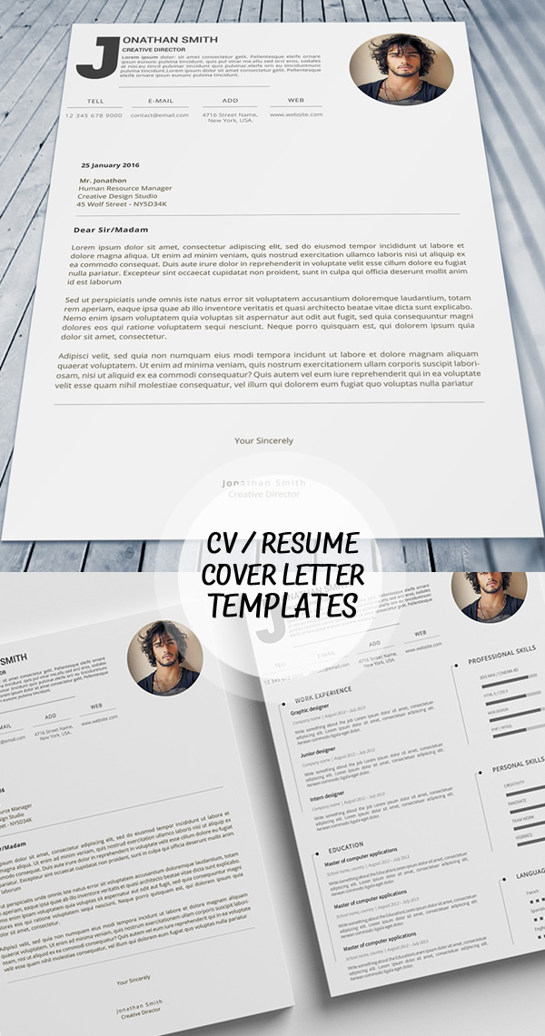 18 Professional CV / Resume Templates and Cover Letter Design - professional resume design templates