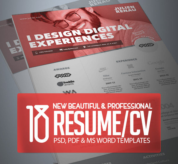 18 Professional CV \/ Resume Templates and Cover Letter Design - graphic design resume templates