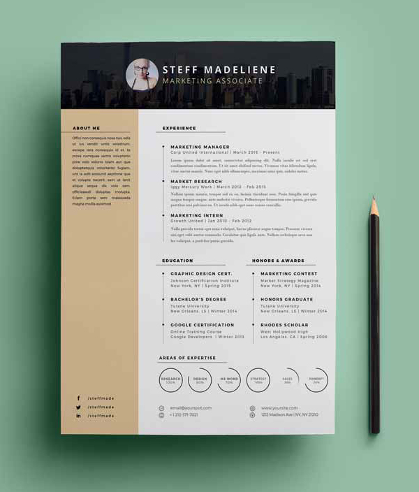 20 Free CV / Resume Templates  PSD Mockups Freebies Graphic