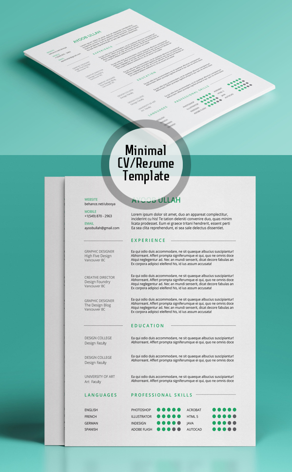 Free Minimalistic CV\/Resume Templates with Cover Letter Template - graphic design resume templates