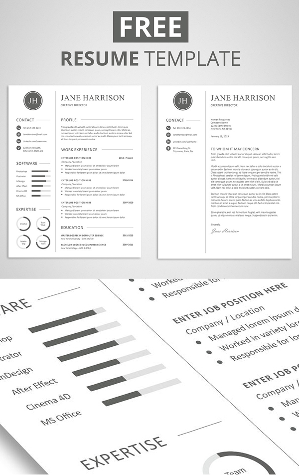 Free Minimalistic CV/Resume Templates with Cover Letter Template - resume template it professional