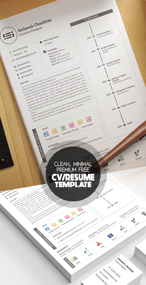 17 Free Clean Modern CV / Resume Templates (PSD) Freebies - clean resume template