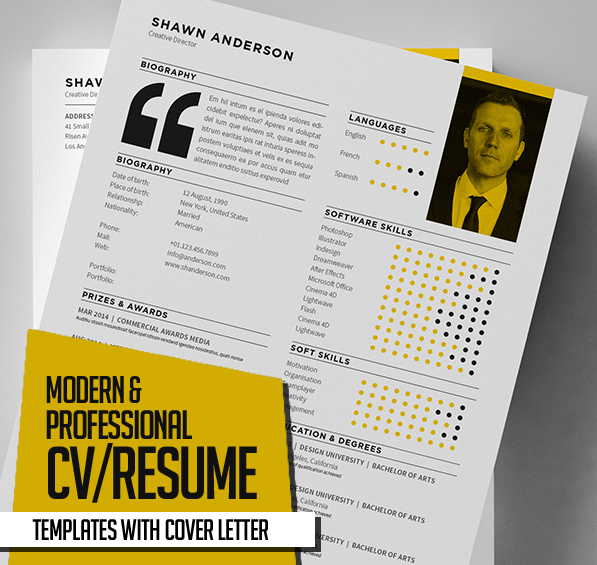 New Modern CV / Resume Templates with Cover Letter Design