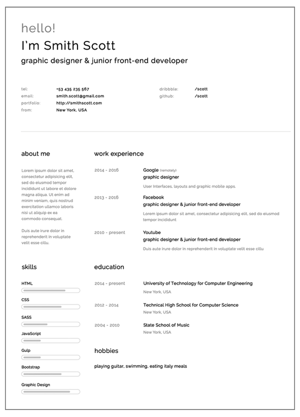 Free Resume Templates for 2017 Freebies Graphic Design Junction - resumes templates