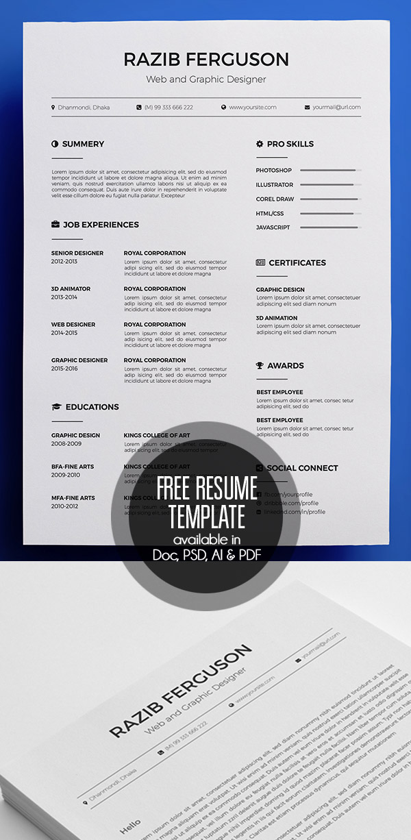20 Free CV / Resume Templates 2017 Freebies Graphic Design Junction