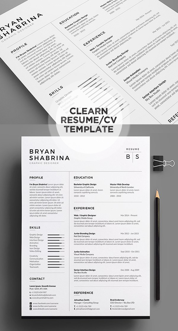 50 Best Minimal Resume Templates Design Graphic Design Junction - Resume With Photo Template