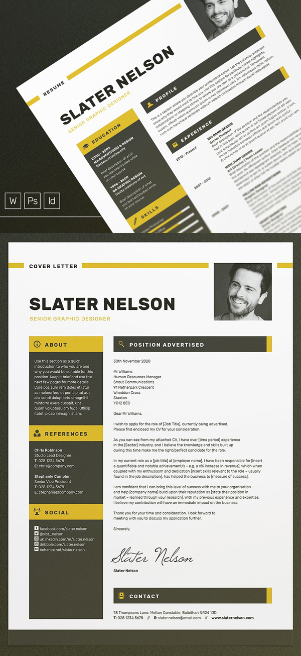 New Professional CV / Resume Templates with Cover Letter Design