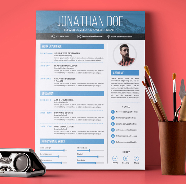 Fresh Free Resume Templates Freebies Graphic Design Junction - graphic design resume templates