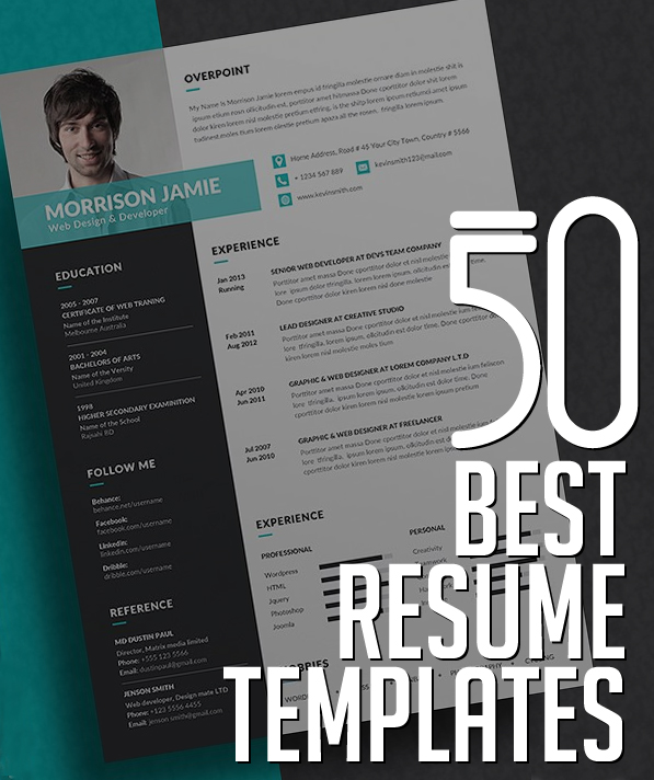 Your All In One Guide To Building The Perfect Resume 50 Best Resume Templates Design Graphic Design Junction