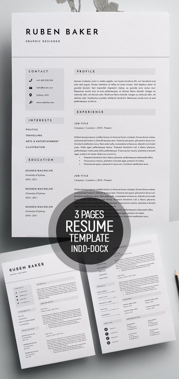 50 Best Minimal Resume Templates Design Graphic Design Junction - resume template for pages