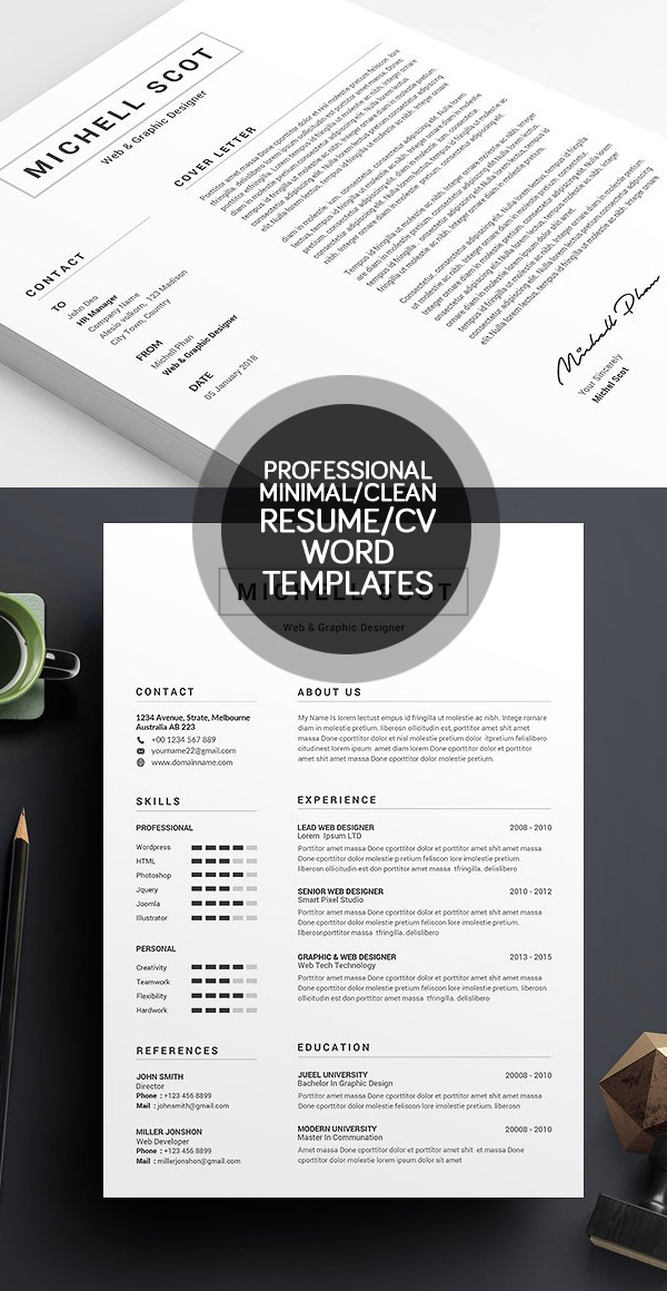 50 Best Minimal Resume Templates Design Graphic Design Junction - clean resume template