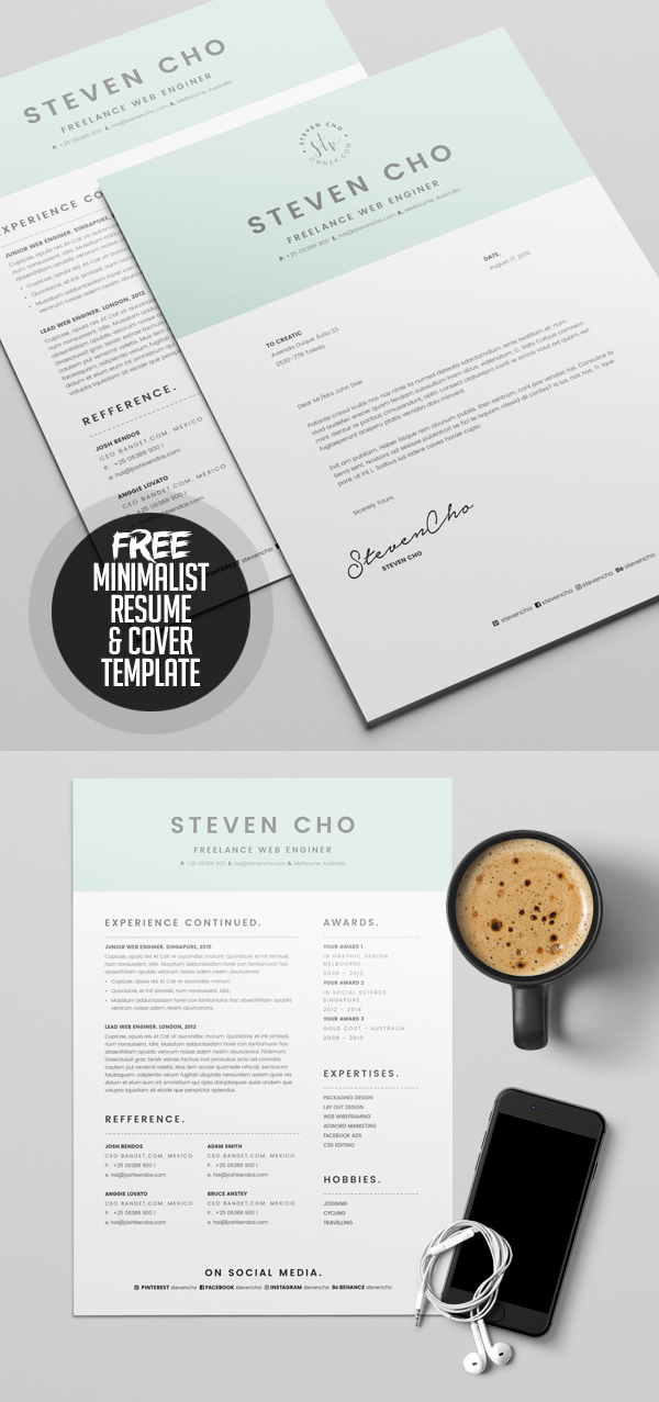 23 Free Creative Resume Templates with Cover Letter Freebies - free resume cover letter