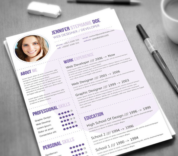 Modern CV / Resume Templates with Cover Letter Design Graphic - modern word resume templates