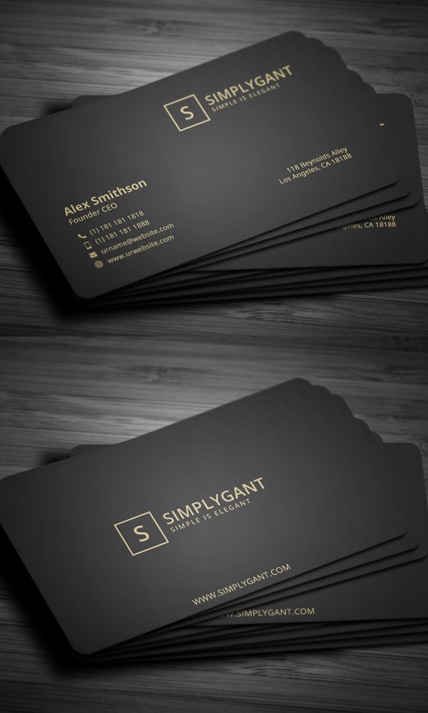 black and gold business cards