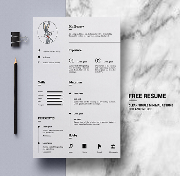 Free Simple Clean Resume Templates Freebies Graphic Design Junction