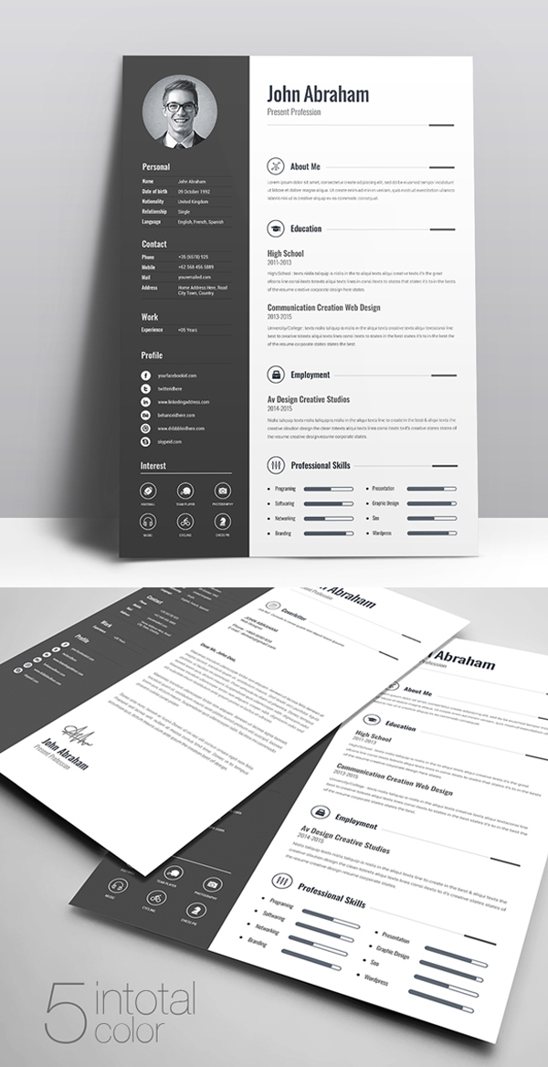 50 Free CV / Resume Templates \u2013 Best for 2019 Design Graphic
