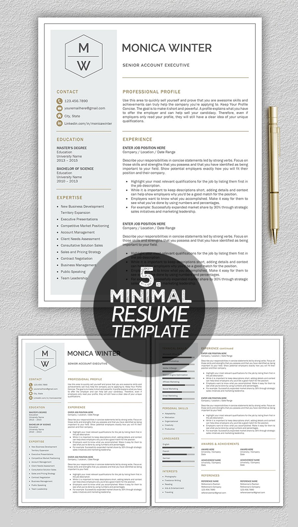 25 Best Minimalism Resume Templates 2018 Design Graphic Design - Concise Resume Template