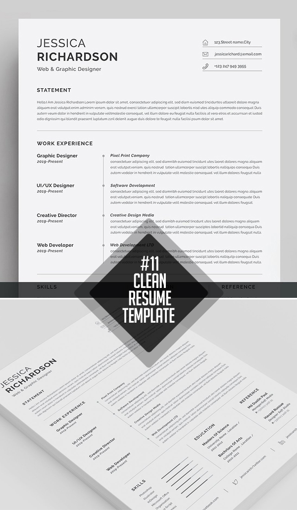 Clean and Minimal Resume Templates Design Graphic Design Junction - clean resume template