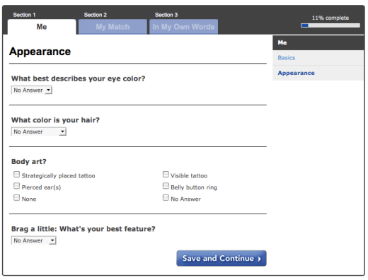 Filling out your online dating profile