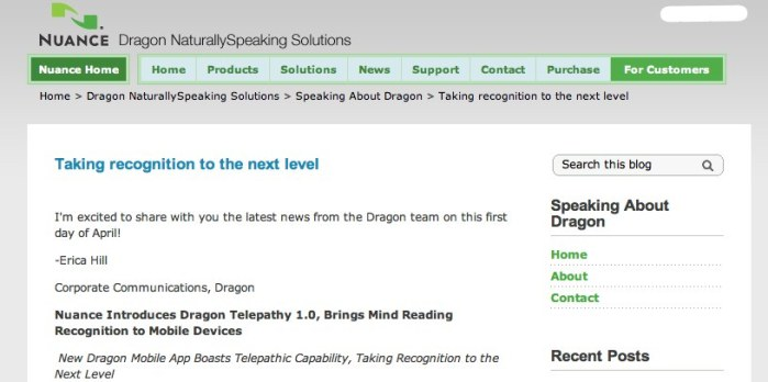 Taking recognition to the next level - Speaking About Dragon - From Nuance