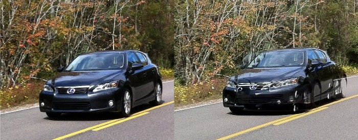 HDR image at right shows multiple locations of moving car as sequential shots are merged together for final image.