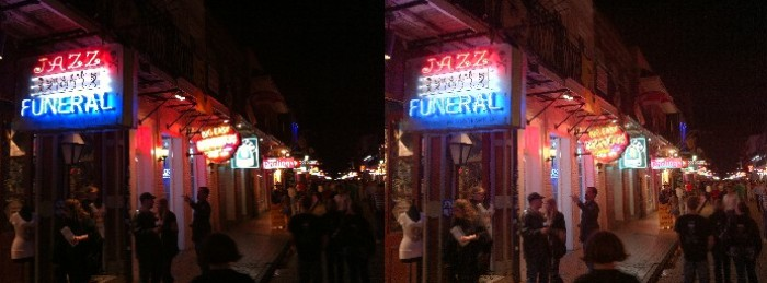 Bourbon Street night life, HDR image at right.