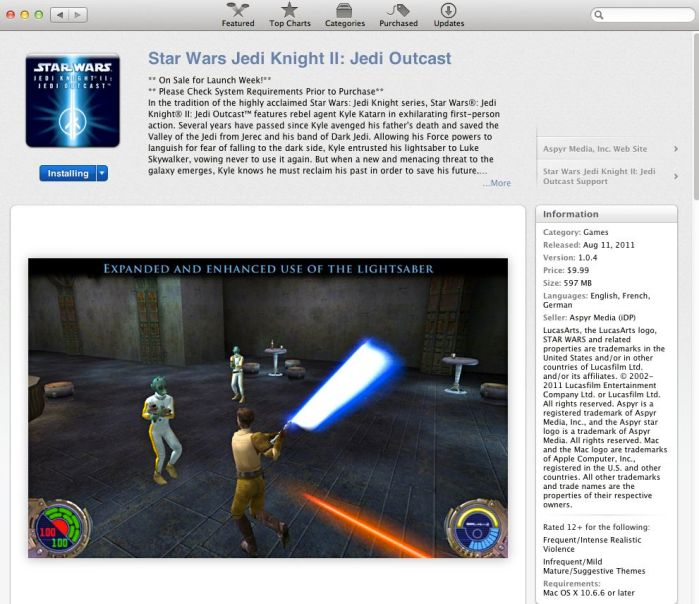 Star Wars JK2 Mac Sotre
