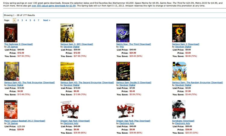 Amazon Game Sale