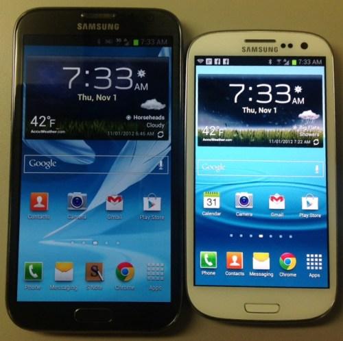 Galaxy SIII vs Note II