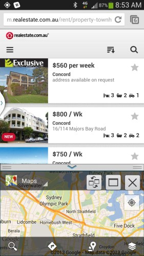 Looking for a house in Chrome while checking nearby suburbs in Google Maps.
