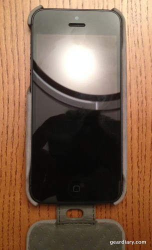 A view of the phone with the case open.
