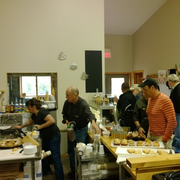 Auto writers lining up for drinks and treats at the Oasis Eatery at Nesbitt's Orchard in Prescott, Wisconsin