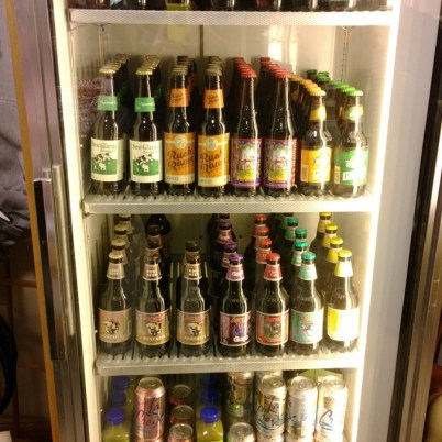 The well-stocked fridge at Oasis Eatery at Nesbitt's Orchard in Prescott, Wisconsin