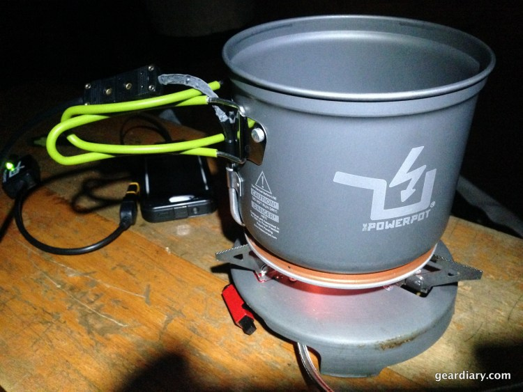 The PowerPot on a portable propane stove.
