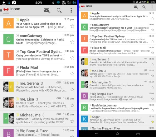 Gmail displayed on the HTC One (left) and Sony Xperia Z Ultra (right)