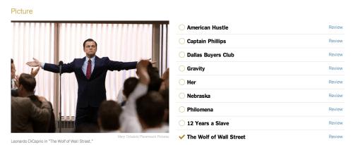 the new york times oscar ballot