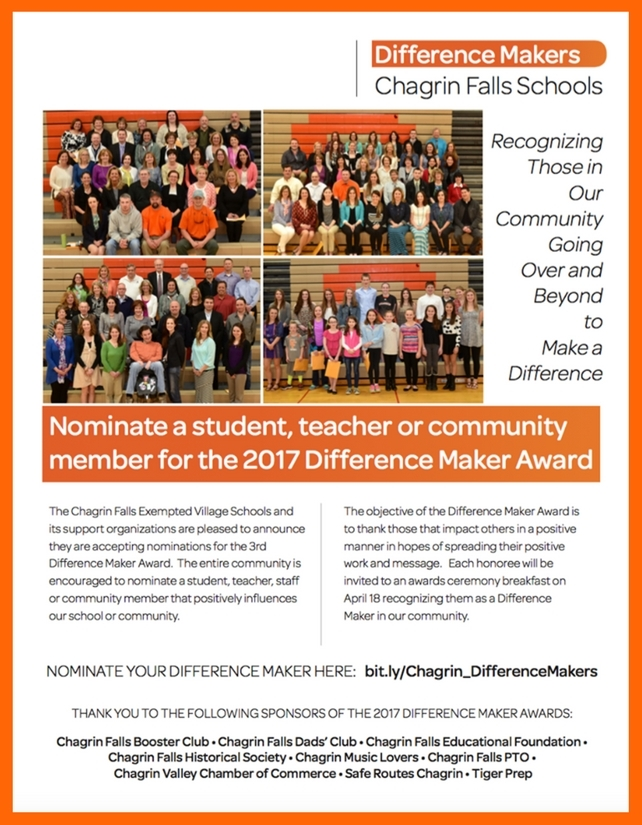 Chagrin Falls Schools is Now Accepting Nominations for the - Award Maker