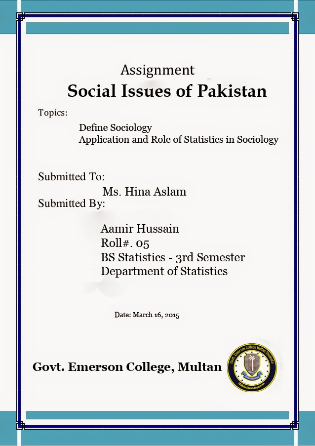 Assignment Cover Page \u2013 Govt Emerson College multan students
