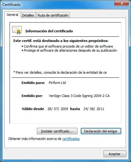 Certificado de CCleaner