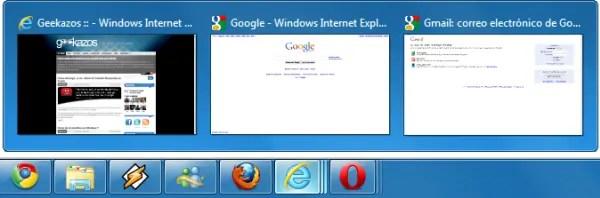 Miniaturas mostrando las pestañas abiertas en Internet Explorer