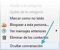 Ocultar la conversación