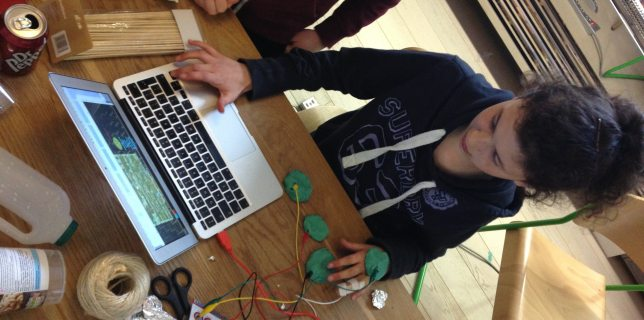 Makey Makey in action at the CoderDojo