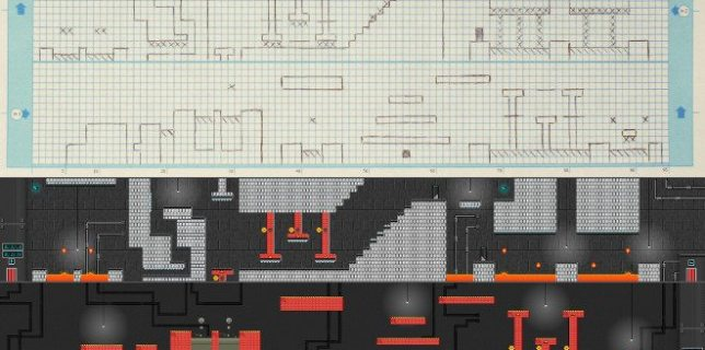 Pencil skecth of a game level compared to the finished Pixel Press video game.