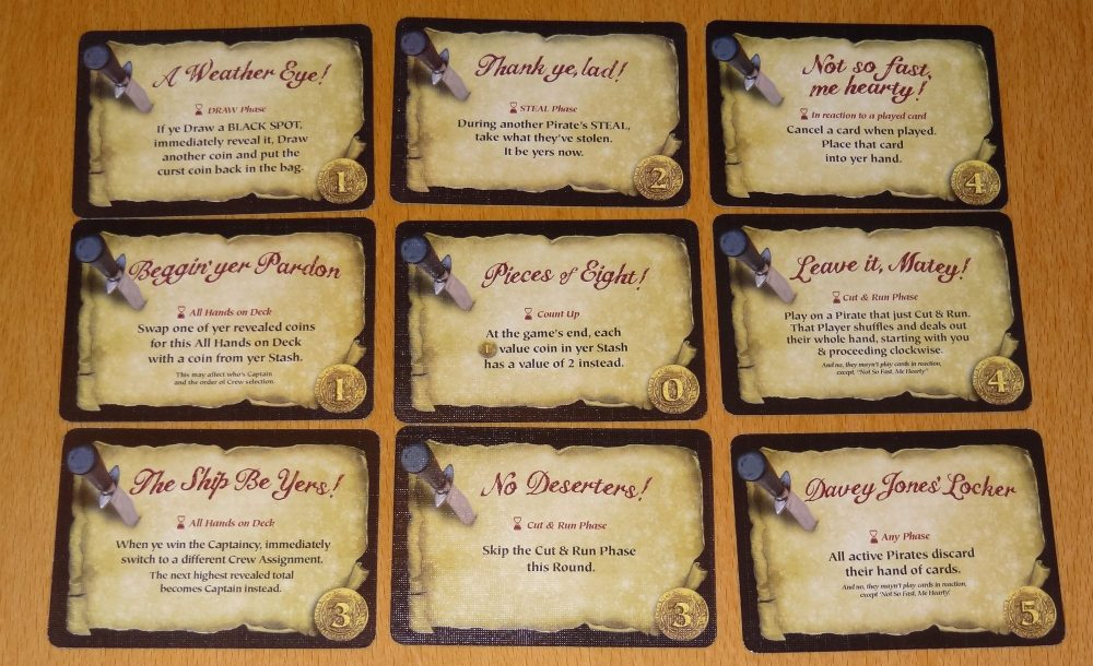 Dread Curse Pirate's Code cards