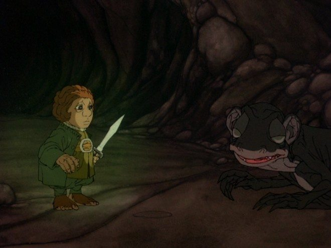 Bilbo Baggins meets Gollum. Image copyright 1977 Rankin/Bass Productions, Inc. and Warner Home Video.