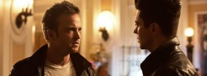 Aaron Paul and Dominic Cooper are not friends in this scene from Need for Speed.