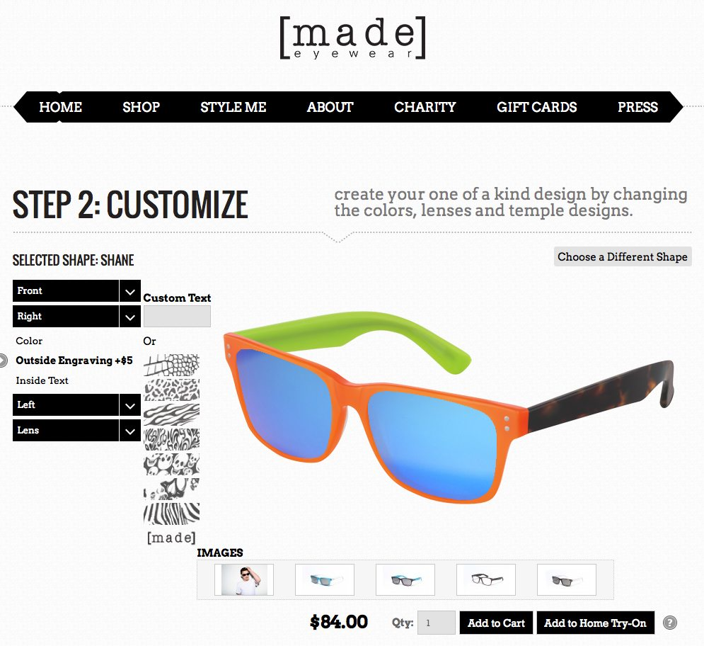 Made Eyewear customize screen