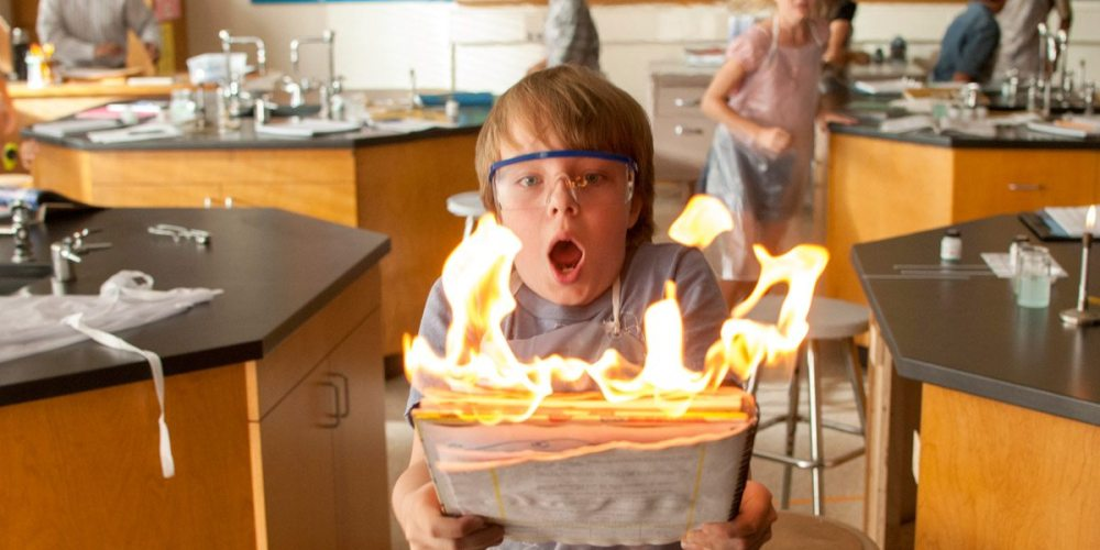 Science class goes awry for Alexander in Alexander and the Terrible, Horrible, No Good, Very Bad Day. © Disney, all rights reserved.